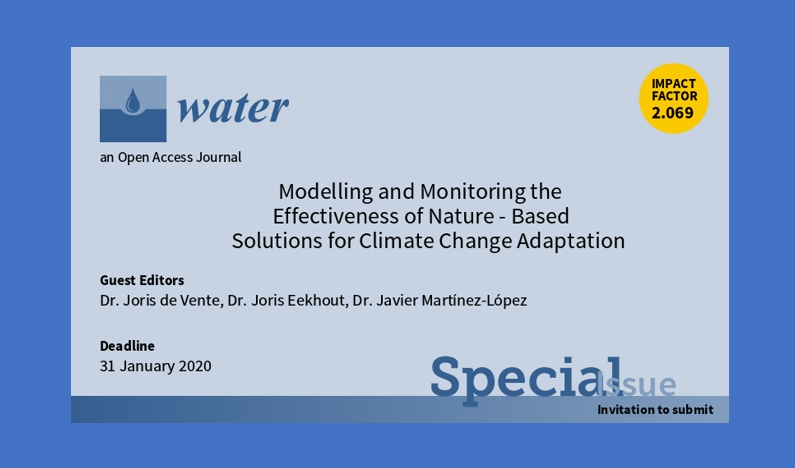 "Special Issue ""Modelling and Monitoring the Effectiveness of Nature-Based Solutions for Climate Change Adaptation"""