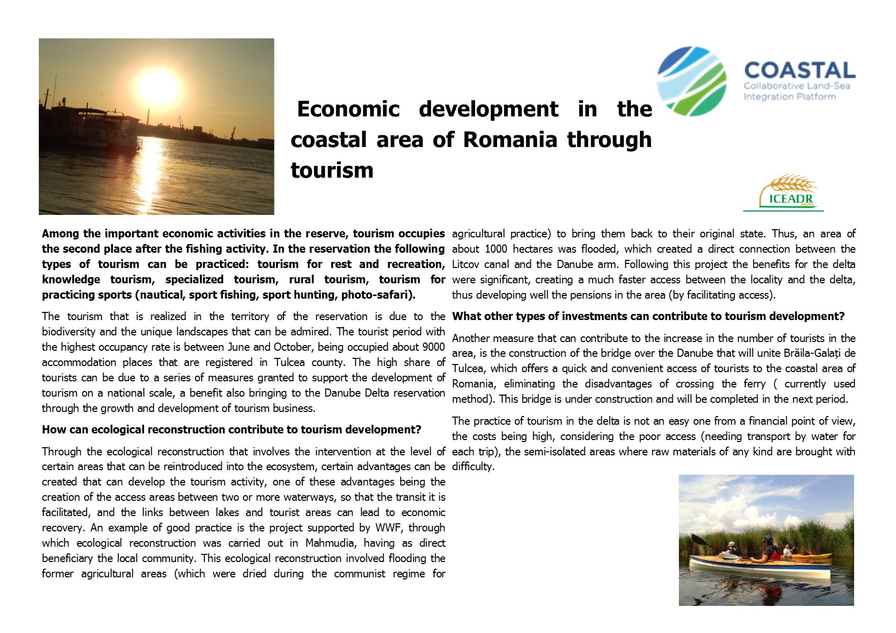 Economic development in the coastal area of Romania through tourism